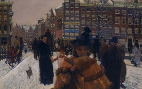Picture picture, the urban landscape, Georg Hendrik Breitner, The Singel bridge on castle Street in Amsterdam