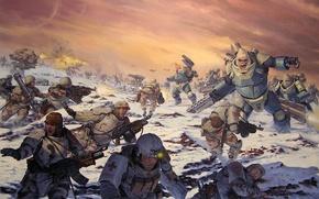 Picture war, explosions, soldiers, Red, armor, against, medic, karl kopinski, AT-43, monkeys