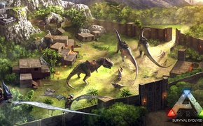 Picture portal, forest, gate, spear, blades, arms, ARK Survival Evolved, dinosaurs, prehistoric animals, base advanced base, …