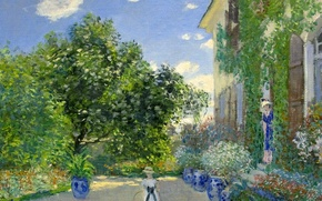 Picture landscape, picture, Claude Monet, genre, Artist's house at Argenteuil
