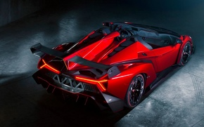 Picture Roadster, Red, Lamborghini, Lamborghini, Red, Supercar, Supercar, Roadster, Spoiler, Veneno, Veneno
