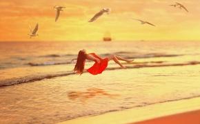 Picture Girl, Red, Sunset, Sea, Dress, Over, Livetation