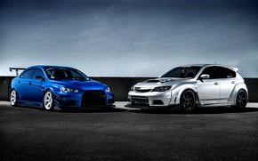 Picture Subaru, Impreza, Mitsubishi, Lancer, Evolution, blue, front, silvery, race car, kit, STi