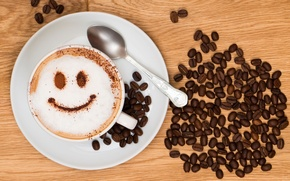 Picture joy, smile, background, Wallpaper, mood, coffee, grain, plate, Cup, wallpaper, cappuccino, smile, widescreen, background, coffee, ...