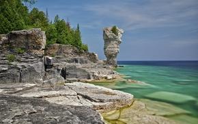 Picture trees, nature, lake, stones, rocks, Canada, Ontario, Bruce Peninsula National Park