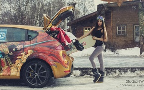 Picture winter, machine, auto, girl, snow, trees, house, street, snowboard, sport, figure, brunette, glasses, jacket, the ...