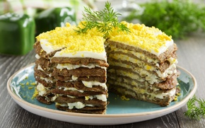 Picture food, dill, decoration, appetizer, mayonnaise, liver cake