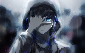Wallpaper people, rain, anime, headphones, tears, art, guy, raku aohane