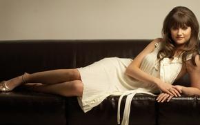 Picture look, sofa, dress, pricheska, Charley Webb