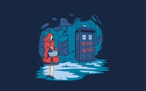 Picture forest, trees, background, basket, art, girl, booth, Doctor Who, Little Red Riding Hood, Doctor Who, …