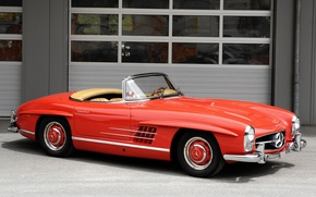 Picture red, retro, convertible, mercedes-benz, 300sl