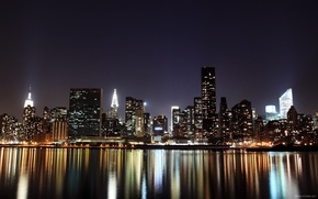 Picture water, the city, lights, reflection, night