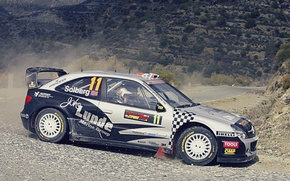 Picture road, mountains, gravel, rally, rally, wrc, citroen, Cyprus, petter, solberg, xsara