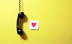 Picture heart, paper, wall, handset