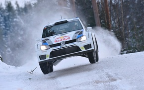 Picture Volkswagen, The front, White, Rally, Winter, Race, Rally, Machine, Logo, Lights, Auto, The hood, WRC, ...