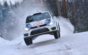Picture Winter, Auto, White, Snow, Sport, Volkswagen, Machine, Speed, Logo, Race, The hood, Lights, Red Bull, …