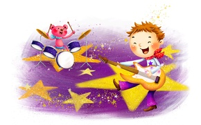 Picture stars, music, guitar
