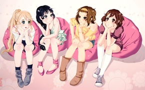 Picture group, anime, girl, friends, mio akiyama, k-on, friend, tainak to knighty, hirasawa yui, kotobuki tsumugi