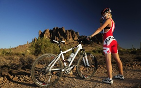Wallpaper girl, mountains, bike, cross country