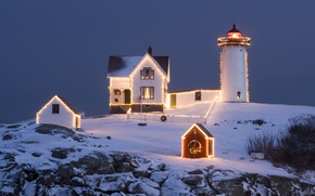 Wallpaper lighthouse, Christmas, the sky, new year, the evening
