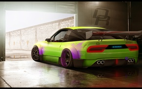 Picture car, green, Nissan, tuning, photoshop, 240SX