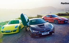 Picture Top Gear, Porsche 911, Wallpaper, Supercars, BMW i8, Jaguar F-Type