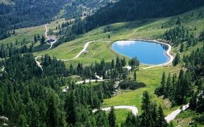 Picture road, forest, lake, home, Alps, Garnitzen