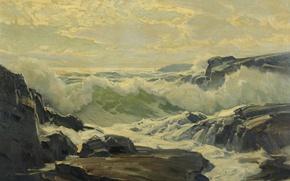 Picture sea, wave, foam, rocks, reefs, Frederick Judd Waugh