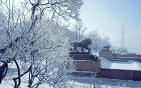 Picture Winter, The city, Snow, Ship, Promenade, Lions, Frost