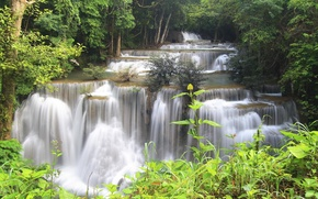 Picture forest, trees, river, stones, waterfall, stream, jungle, Thailand, Thailand, cascade