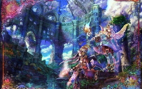 Picture the city, fantasy, girls, anime, art
