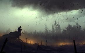 Picture birds, clouds, fire, art, death, battlefield, lonely