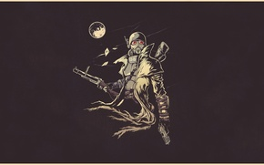 Picture fiction, the moon, figure, art, soldiers, helmet, moon, armor, Fallout, soldier, armor, postapokalipsis, art, ranger, ...