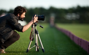 Picture greens, grass, mustache, nature, background, situation, Wallpaper, frame, meadow, the camera, male, beard, guy, curls, …