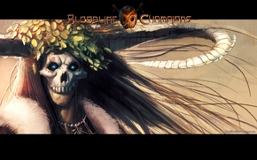Picture monster, the demon, mask, horns, fur, wreath, long hair, burning eyes, Bloodlin Champions