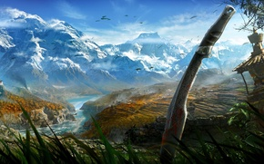 Picture mountains, birds, nature, sword, Far Cry 4