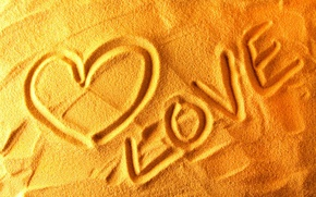 Picture sand, love, heart, drawings