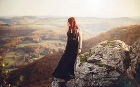 Picture landscape, rock, stone, height, redhead, Lorène