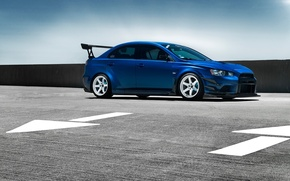 Picture Mitsubishi, Lancer, Car, Evolution, Blue, Front, Wheels, Spoiler
