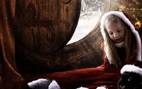 Picture winter, fiction, mood, black, child, Christmas, rabbit, the door, girl