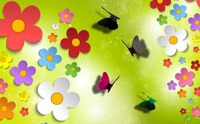 Picture light, flowers, butterfly, Shine, Blik, the volume, applique