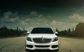 Picture white, Mercedes-Benz, before, Brabus, BRABUS, front, Mercedes Benz, S Class, S 550, Vellano Wheels