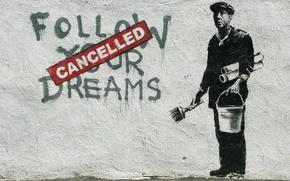 Picture wall, graffiti, Banksy