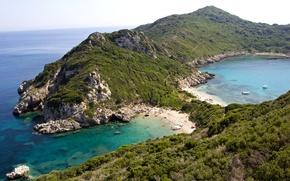 Wallpaper sea, Greece, horizon, Corfu, rocks, coast, stones