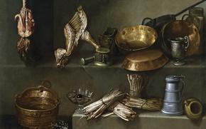 Picture picture, utensils, Ignacio Arias, Still life with Cooking Utensils and Asparagus