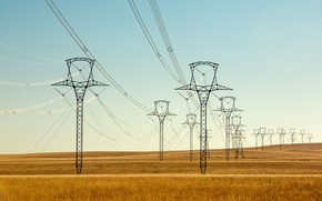 Picture the sky, field, the countryside, solar, power lines, farm, the supports of high voltage lines