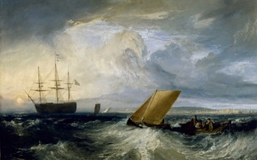 Picture sea, storm, boat, ship, picture, sail, seascape, William Turner, Sheerness as seen from the Nore