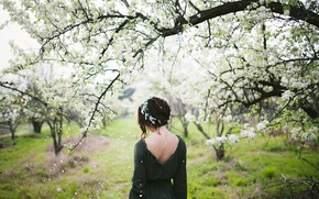 Picture girl, spring, flowering, wreath