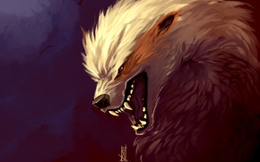 Picture predator, fangs, grin, art, by TheRisingSoul, Arcanine