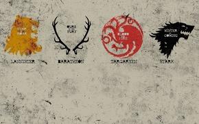 Wallpaper dragon, home, Leo, deer, the direwolf, emblems, game of thrones, Game of thrones, Stark, Lannister, ...
